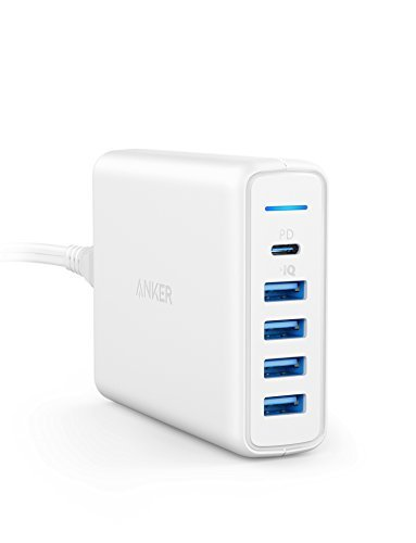 Anker PowerPort I Premium 5 Port 60W, USB C & USB A Wandladegerät, Power Delivery, kompatibel mit Apple MacBook, Nexus 5X / 6P, 4 PowerIQ Ports kompatibel mit iPhone, iPad, Galaxy(Weiß)