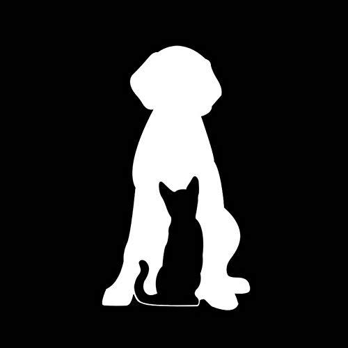 MCTYLI 13,1 * 23,5 cm grappige liefde Einander uitkomen huisdier hond en kat auto sticker zwart/zilver