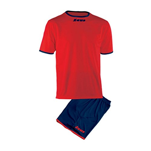 Zeus Herren Kinder Set Trikot Shirt Hosen Klein Armel Kit Fußball Hallenfußball Kit Sticker Rot Blau (M)