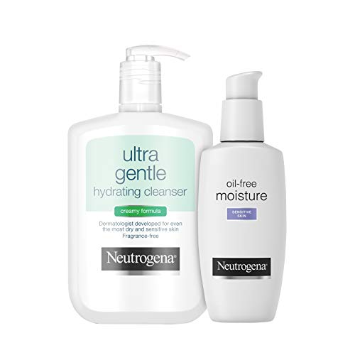Neutrogena Ultra Gentle Hydrating Daily Facial Cleanser for Sensitive Skin Face Wash, 12 fl. Oz With Oil-Free Facial Moisturizer, Sensitive Skin, 4 Fl Oz Neutrogena