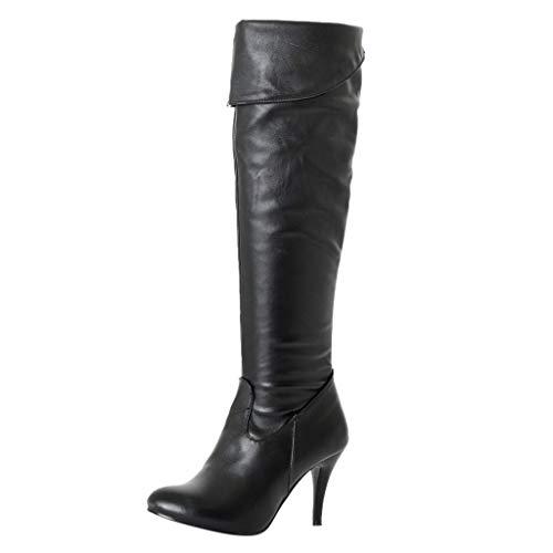 serliy😛Damen Klassische Stiefel Stiletto über Knie Lange Stiefel Langschaft Stiefeletten mit Pfennigabsatz PU Leder Wildleder Overknees Boots Winterstiefel