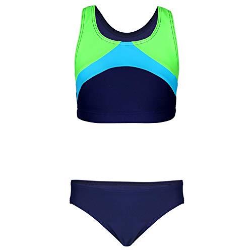 Aquarti Mädchen Sport Bikini Racerback Bustier & Bikinislip, Farbe: Dunkelblau/Grün/Hellblau, Größe: 158