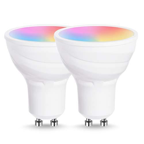 LOHAS Smart LED Lampe GU10, WLAN Farbige Glühbirne, RGB+CW, 5W ersetzt 50W, 420LM, 120 °, Mehrfarbige Leuchtmittel für Haus Dekoration, Bar, Party, Kompatibel mit Alexa und Google Home, 2er-Pack