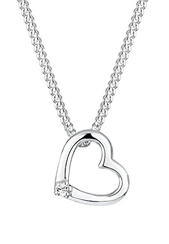 Elli Halskette Damen Herz Anhänger mit Kristalle in 925 Sterling Silber