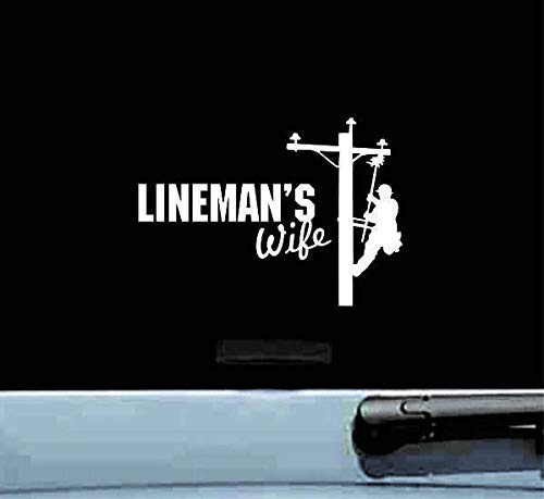 Linemans vrouw elektrische paal elektricien vinyl sticker bumper auto vrachtwagen