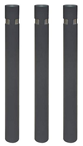 Pilona fija reforzada para empotrar al suelo modelo City. Bolardo de hierro con parte superior en acero inoxidable de 95x1000 mm (3- Pilonas)