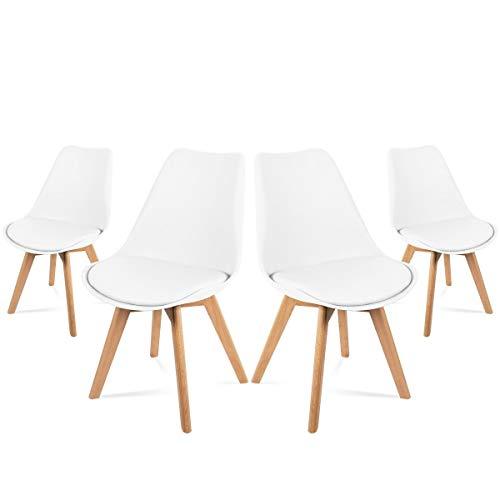 Mc Haus LENA - Pack 4 sillas Blancas Tulip Comedor oficina, Sillas Madera nórdicas con patas de madera y Asiento Acolchado suave, respaldo ergonómico, Blanco, 83x49x53,5cm ✅