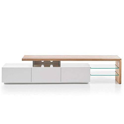 INSIDE Meuble TV Design ALRIK 3 tiroirs laqué Blanc Mat et chêne
