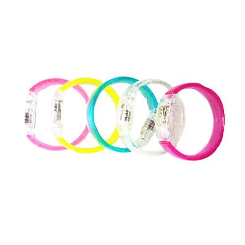 Amosfun - Pulseras con luces LED, 5 unidades, para bodas, cumpleaños, conciertos, juegos nocturnos y eventos divertidos (color al azar) 5 unidades Como se muestra en la imagen