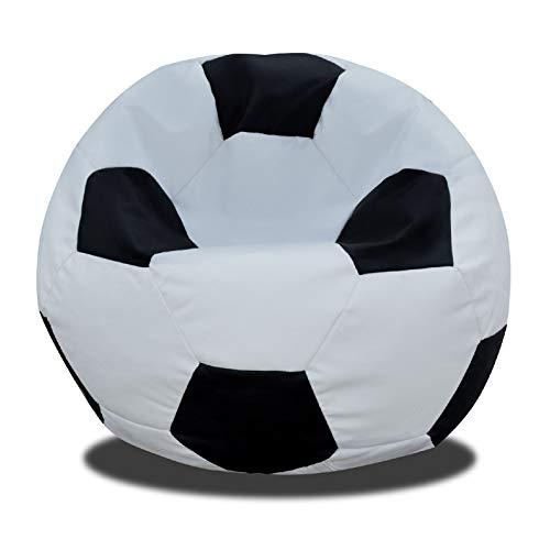 FORTISLINE Fussball SITZSACK SITZKISSEN W424_01 60CM, 250L (Schwarz-Weiss)