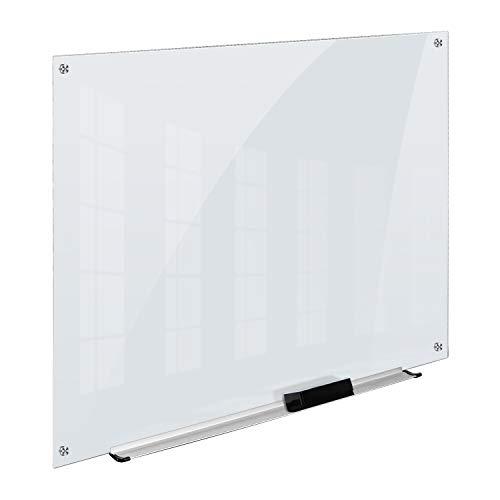 Amazon Basics - Pizarra de borrado en seco de vidrio - Esmerilada, no magnética, 120 x 90 cm