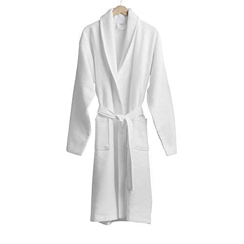 Welhome Waffle Terry Shawl Collar Bathrobe   Large   White   100% Cotton   Soft Collar   Ultra Absorbent   Side Pockets   Unisex   Machine Washable