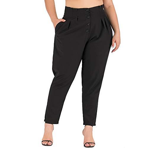 Panty's, joggingbroek, brede broeken, broek voor dames Plus size Pure Pocket Button losse vrije tijd brede pijpen plooien leggings broek XX-Large zwart