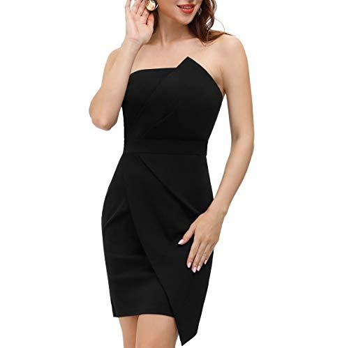 GRACE KARIN Damen Abendkleid Off Shoulder Pleated Bodycon Bleistiftkleid Midi Sexy Party Kleid S Schwarz CLS02496-1