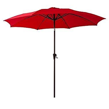 FLAME&SHADE 10 feet Round Patio Umbrella with Crank Lift, Fiberglass Rib Tips, Push Button Tilt, Red