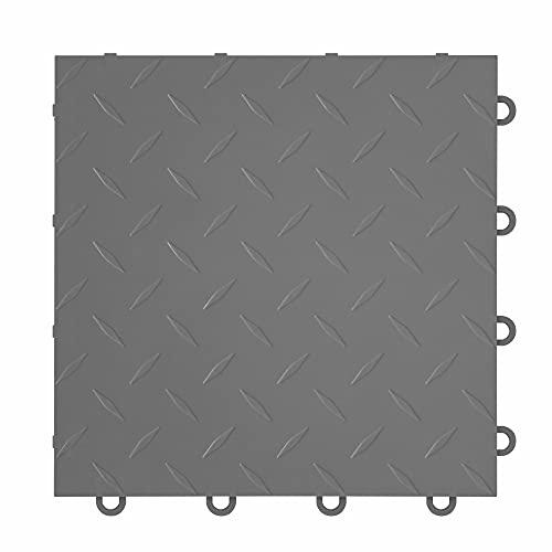 "IncStores ⅜ Inch Thick Nitro Interlocking Garage Floor Tiles | Plastic Floor Tiles for a Stronger and Safer Garage, Workshop, Shed, or Trailer | 12""x12"" Tiles, Diamond, Graphite, Pack of 52"