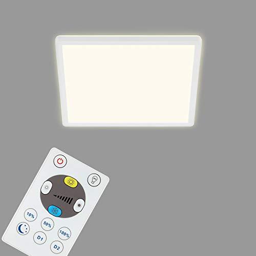 Briloner Leuchten - Panel LED, lámpara de techo regulable, lámpara de techo con luz trasera, incluye mando a distancia, 18 W, 2400 lúmenes, color blanco, 293 x 293 x 28 mm (largo x ancho x alto).