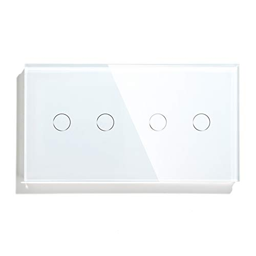 BSEED interruptor tactil 2 Gang 1 Vía+ 2 Gang 1 Vía,interruptor táctil de pared Blanco con indicador LED, 500W interruptores de luz pared con con panel de vidrio templado,sin cable neutro
