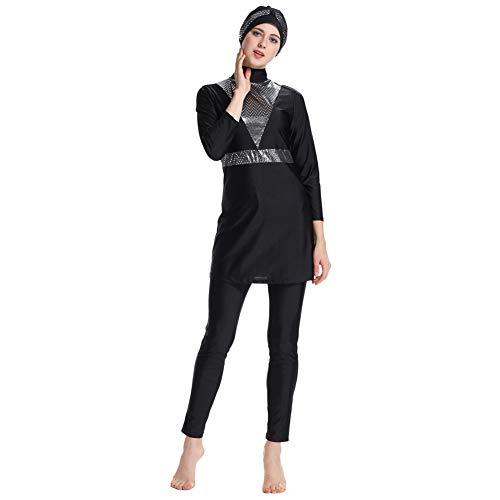 Meijunter Maillot de Bain Musulman Modeste - Ensemble de Burkini pour Femmes Ensemble de Pantalons Hijab Couverture Complète Beachwear Protection Solaire UPF 50+