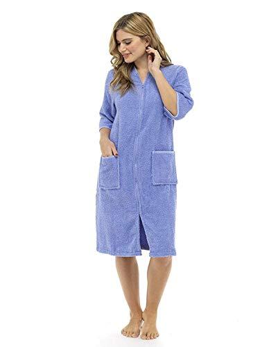 CityComfort Bademantel aus 100 % Baumwolle, für Damen, mit Knöpfen und Reißverschluss Gr. X-Large, Lila Reißverschluss