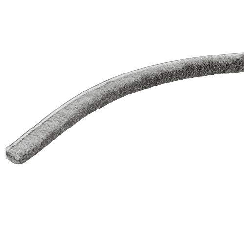 Gedotec Borsten-Dichtung für Kleider-Schrank Bürstendichtung Staubschutz Möbel-Dichtung selbstklebend für Türen | Zugluftstopper Kunsthaar grau | 2500 x 10 mm | 1 Stück - Dichtungsband zum Kleben