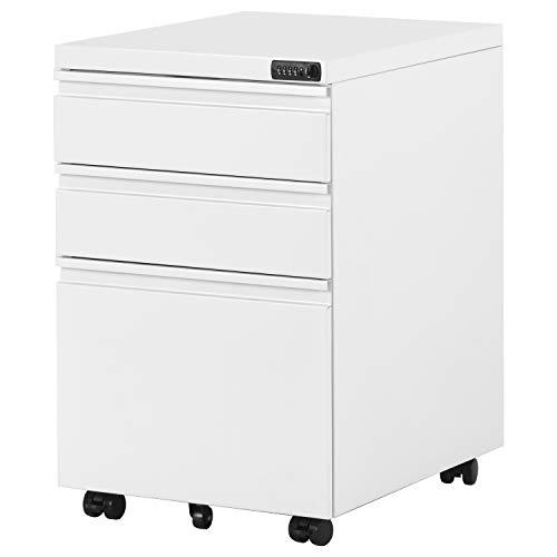 Flieks Rollcontainer, Bürocontainer mit Zahlenschoß inkl. 3 Schubladen, grundsolide Verarbeitung, optimal für Schreibtisch, Büromöbel, Container, Rollkontainer Büro, Rollkontainer mit Schubladen