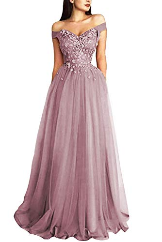 Prom Dress Lace Formal Evening Gowns Long Off Shoulder Prom Dresses Tulle Lace Evening Party Dress Appliques Dusty Rose (Apparel)