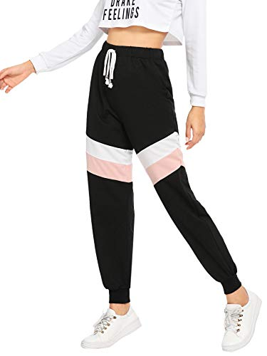 SweatyRocks Womens Sweatpants Color Block Casual Loose Tie Waist Jogger Pants Black Medium