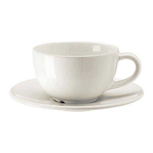 IKEA VARDAGEN Kaffeetasse und Untertasse; in elfenbeinweiß; aus Steinzeug; (14cl)