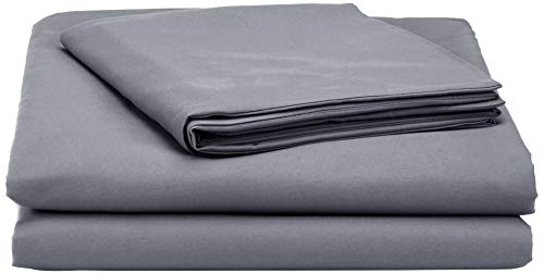 AmazonBasics Microfibre Duvet Cover Set, Single, Dark Grey