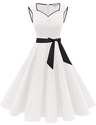 Gardenwed Weißes Kleid Rockabilly Damen Ärmellos 50er Vintage Kleider Petticoat Partykleid Cocktailkleider White-2XL
