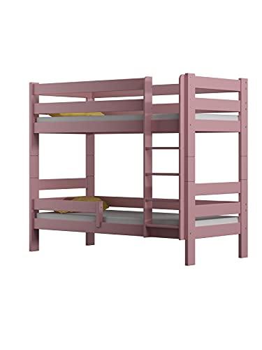 Children's Beds Home - Litera de madera maciza - Toby para niños y niños pequeños - Tamaño 200 x 90, color rosa, cajón sí, colchón de látex de alta resistencia de 12 cm