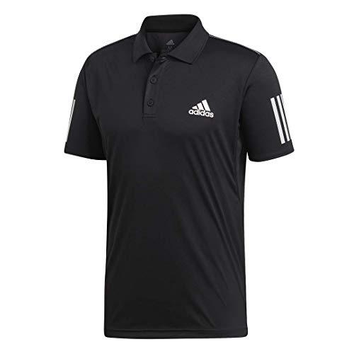 adidas mens 3-Stripes Club Polo Shirt Black/White X-Small