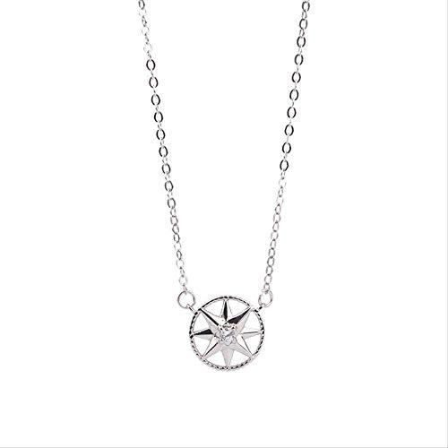 pyongjie Collar de Mujer S, joyería S925, Collar de brújula de Plata esterlina, Cadena de clavícula, joyería de Piedra de Ojo de Gato con Estrella de Ocho Hombres a la Moda