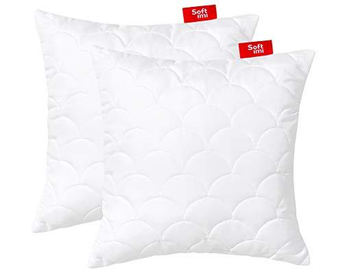 Softimi 2 Kopfkissen aus Mikrofaser, Sofakissen, Kissen für Schlafzimmer, dekoratives Kissen, mit Reißverschluss, komprimiert - gesteppt 40x40