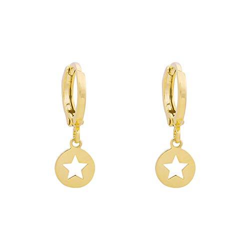 14 Karat vergoldete Creolen mit kleiner Münze - Huggie Hoops Star - Premium Design Damenmode - Fangen Sie einen Stern