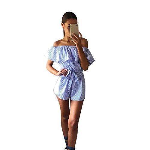 Jumpsuit dames zomer retro korte overall mouwloos elegante schoudervrije jumpsuits Fashion Chic krijtstrepen ruches broekpak Playsuit