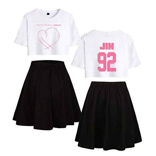 Flyself BTS Crop Top und Rock Set Damen Map of The Soul Persona Gedruckt Zweiteiler Lässige Sommer T-Shirts + Rock Anzug Active Trainingsanzüge Suga Jimin Jin Jung Jook J-Hope Rap-Monster V