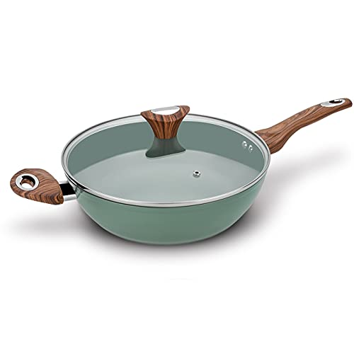 Phantom Chef 11' Deep Frypan 5 Qt Wok   Aluminum Body Non-Stick Ceramic Coating   With Soft Touch Stay Cool Handle   Dishwasher Safe   Non-Toxic PFOA & PTFE Free (Green)