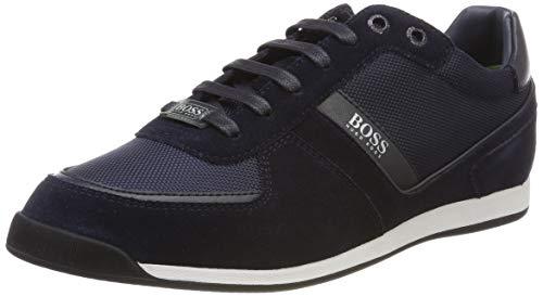 BOSS Herren Glaze Lowp Lowtop Sneakers aus Leder, Veloursleder und Material-Mix Größe 42