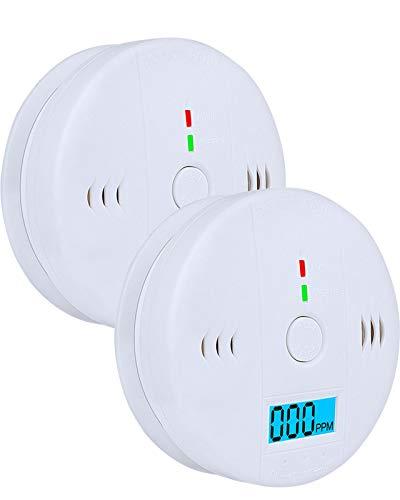 Rauchmelder Gaswarner - Kohlenmonoxid Warnmelder Wechselbare Batterie - Gasmelder Homekit Rauchmelders for Sicherheit Zu Hause - LCD-Display Rauchwarnmelder 2 Pcs