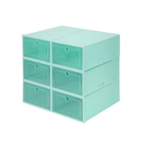 Cajas de almacenamiento de zapatos 6 piezas Caja de zapatos de plástico transparente Contenedor de almacenamiento resistente Tainer Cajas de zapatos ordenadas Organizador de soporte de zapatos,Verde,M