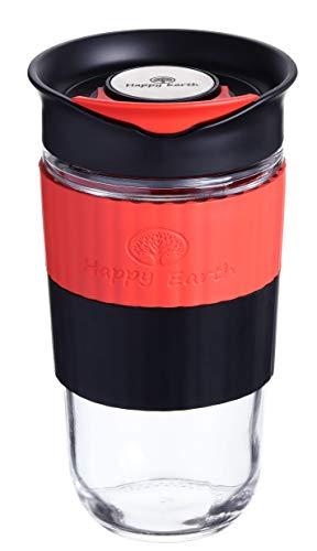 Gusto L (Luster) von Happy Earth (540 ml, Reisebecher aus Borosilikatglas mit Silikonhülle und spritzwassergeschütztem Deckel, BPA-frei)