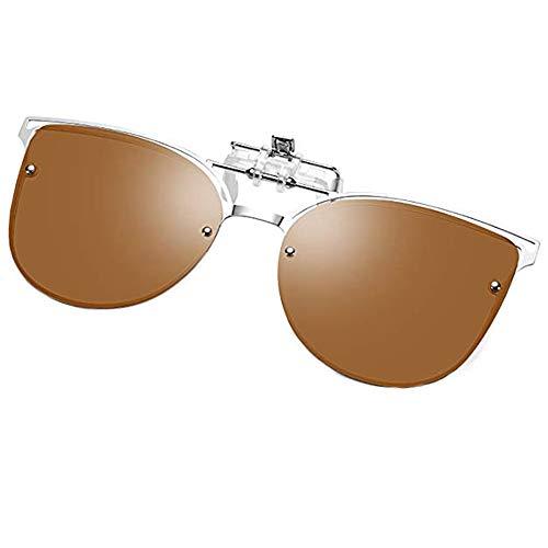 Clip On Sunglasses Over Prescription Glasses Men Women, Cateye Polarized FILP On Sunglasses, Tea Brown Anti Glare UV400 Protection Ultra Light, for Shopping, Fishing, Golf, Camping, Travelling