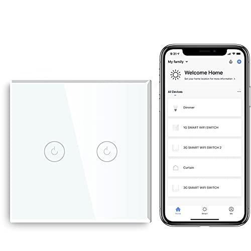 BSEED Interruptor de Sensor Táctil WIFI Inteligente (Se Requiere Línea Neutra) Alexa y Google Home Work con Tuya Para Interruptores de Luz de Pared con Placa de Cristal Negro 2 Gang 1 Vía Blanco