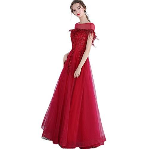QJKai Robe de soirée Banquet Manches Toast Rouge Robe élégante de tempérament