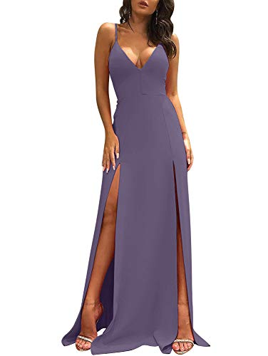 TOB Women's Sexy Sleeveless Spaghetti Strap Backless Split Cocktail Long Dress Lavender