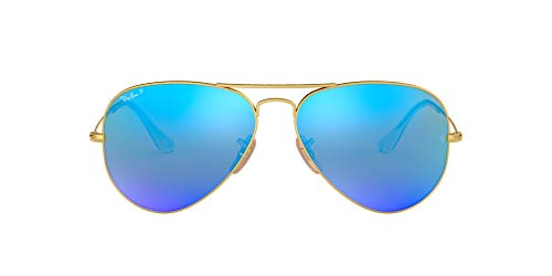 Ray-Ban AVIATOR LARGE METAL – MATTE GOLD Frame BLUE MIRROR POLAR Lenses 58mm Polarized