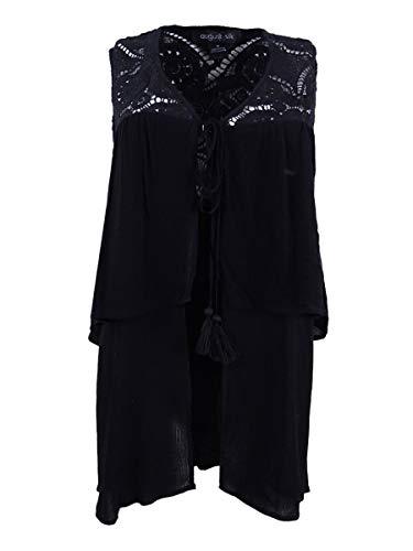 August Silk Womens Lace Mixed Media Dress Top Black M