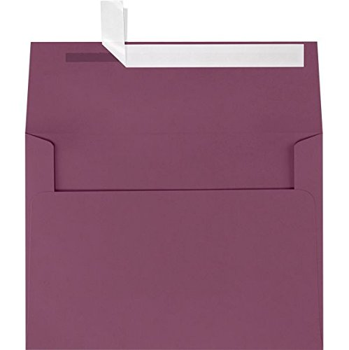 LUXPaper A9 Invitation Envelopes in 80 lb. Vintage Plum for 5 1/2 x 8 1/2 Cards, Printable Envelopes for Invitations, with Peel and Press, 50 Pack, Envelope Size 5 3/4 x 8 3/4 (Plum)